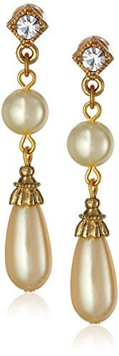 """1928 Jewelry """"Pearl Essentials"""" Gold-Tone with Crystal Accent Drop Earrings 1928 Jewelry http://www.amazon.com/dp/B00JH4G99Q/ref=cm_sw_r_pi_dp_lFOxub121ZSDB"""