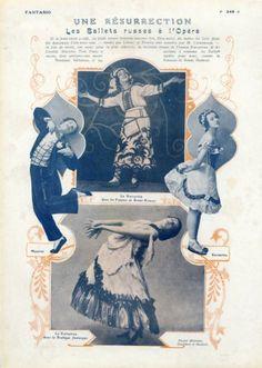 Karsavina & Leonide Massine 1920 Russian Ballets Ballets Russes Ballet Russe, Vintage Ballet, Russian Ballet, Textiles, Vintage Magazines, Ballerinas, Dancers, Lifestyle Blog, Feathers