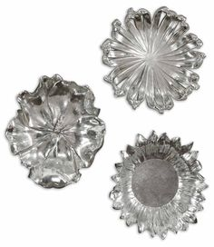 ... Set Of Three By Uttermost. Delightful, Silver Plated Flower Designs  Accented With A Light Gray Wash. May Be Used As Wall Decor Or Tabletop  Accessories.