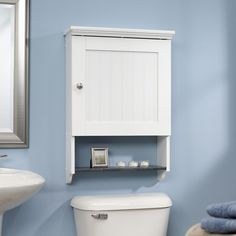 A built-in storage cubby keep your daily necessities at arms reach. Bathroom wall cabinet with storage shelf, double doors & full size towel bar. 1 x Bathroom Wall Cabinet. Full Size Pine Wooden Bar Great for Hanging Towels. Medicine Cabinet Shelves, Bathroom Shelving Unit, Bathroom Medicine Cabinet, Shelving Units, Medicine Cabinets, Cabinet Space, Bathroom Cabinets Over Toilet, Bathroom Furniture, Bathroom Ideas
