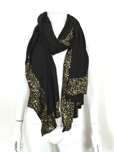 DKNY Cotton Scarf/Shawl with Sequins / Black & Gold / RRP: £125.00