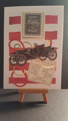 Birthday Card www.etsy.com/shop/jengirlsdesigns #etsy #jengirlsdesigns #handmade #card #handmadecard #birthday #birthdaycard #forhim #etsyusa #etsyfinds #etsysellers #etsystore #etsyseller #greetingcards #birthdaywishes #papercrafts #cardmaking #papercrafting #makeawish #etsyshop #car #antiquecar #vintage