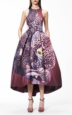 Orchid Print Silk Faille Structured Dress by Monique Lhuillier for Preorder on Moda Operandi