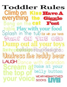 Printable Poster for Toddler Decor - Toddler Rules.