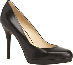 Women's Nine West Kristal Platform Pump - Black Leather with FREE Shipping & Exchanges. The Nine West Kristal platform pump features a padded footbed and an almond toe.  Covered heel  Man