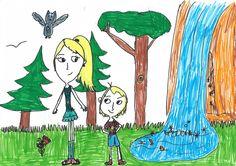 Kinderbild im Wald, Kinderzeichnung, Kidsart, Kinderkunst