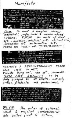 Fluxus is an international network of artists, composers, and designers noted for blending different artistic media and disciplines in the 1960s. They have been active in Neo-Dada noise music and visual art as well as literature, urban planning, architecture, and design. The Fluxus movement, which still continues, played an important rule in the opening up of definitions of what art can be.