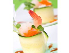 Appetizer in a glass fancy food expert experiment recipe of the gourmet zucchini and shrimp appetizers food expert experiment recipe of the forumfinder Gallery