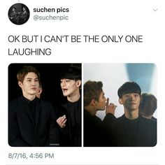 Lmao Mumma Suho be telling baby Chen to be quiet for 5 seconds ㅋㅋ Exo Chen, Suho Exo, Funny Kpop Memes, Exo Memes, Kim Minseok, Exo Ot12, Bts And Exo, Kpop Groups, K Idols