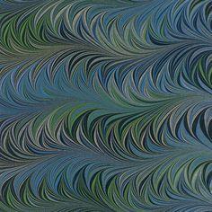 Crepaldi Marbled Paper - Blue & Green Waved Chevron (1/2 sheet)