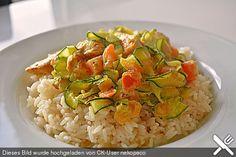 Urmelis Hähnchenbrust in Zucchini - Curry - Sahne - Sauce