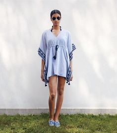 RAVENA CAFTAN - BLUE-WHITE/ TORY NAVY