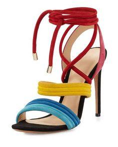 ALEXANDRE BIRMAN Aurora Strappy Suede Sandal, Multicolor. #alexandrebirman #shoes #sandals