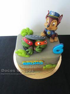 Doces Opções: Bolo de aniversário com as Tartarugas Ninja e a Pa...