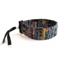 Handwoven beaded cuff by Julie Rofman jewelry