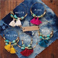 TTE-01 handmade turquoise and gold beads tassle hoop earrings