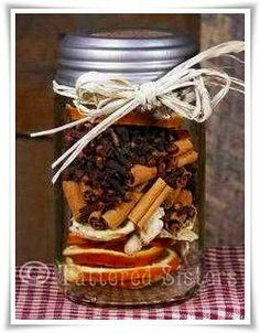 Fall Simmering Spices..a perfect gift that smells great. -- a great neighbor gift~dried orange slices, ginger root chunks, cinnamon sticks, whole cloves, whole Allspice into Mason Jar!