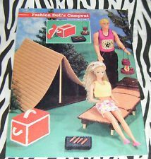 Plastic Canvas Doll Camping Tent Cot Grill Barbie Size OOP Furniture Pattern