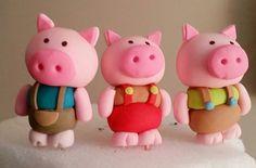 Fondant Pig 3 Little Pigs Animal Nursery Rhyme by SweetFondant- $15