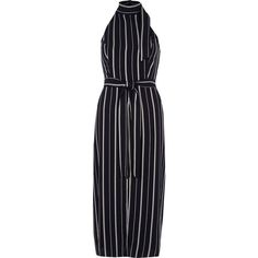 River Island Navy stripe high neck waisted midi dress (564800 PYG) ❤ liked on Polyvore featuring dresses, navy, swing dresses, women, blue sleeveless dress, sleeveless swing dress, navy dress, midi swing dress and striped midi dress