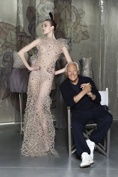 Giorgio Armani at the opening of #ArmaniSilos in Milan, in honor of his 40-year milestone. The new exhibition space displays some of the designer's most significant contributions to fashion and film.