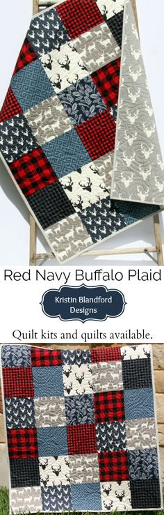 Handmade Quilt, Buffalo Plaid Baby Quilt, Lumberjack Toddler Quilt, Buffalo Check Throw Quilt, Woodland Forest Animals, Navy Blue Red Black Gray, Deer Buck Feathers Gingham, Quilts Kits, Sewing Projects, Beginner Quilting Kits by Kristin Blandford Designs #quilting #babynursery #buffaloplaid #buffalocheck #lumberjack #handmade