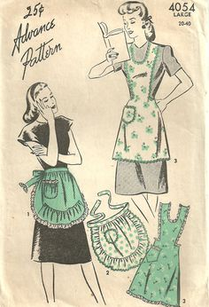 Advance 4054 Vintage 40s Sewing Pattern Full Or by studioGpatterns, $14.50