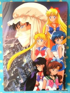 A shitajiki / illustration picture board for the Japanese shojo anime, Sailor Moon. The stationery item with the illustration of the pretty guardian soldiers and Moonlight Knight is for Sailor Moon R.