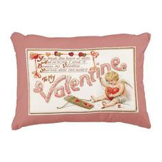 Cupid Mending Heart To My Valentine Pink Accent Pillow - #zazzle