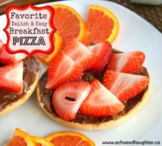 Echoes of Laughter: 20 Great Back To School Ideas - this breakfast pizza looks great - bagel with nutella & fresh sliced strawberries