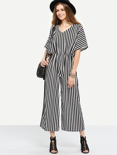 Surplice Back Vertical Striped Jumpsuit