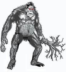 Fsti Capcaki- Native American myth: a giant hairy humanoid that is strong enough to rip out trees from the ground and use it as a club. It smells like stagnant waters and is covered in gray fur.