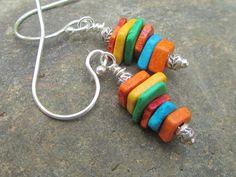 Sterling silver earrings Greek ceramic beads - Bright summer multi colors - Sundance