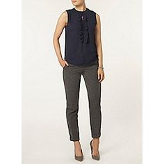 Dorothy Perkins - Navy ruffle sleeveless top