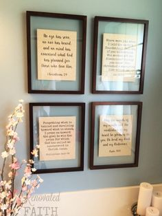 Diy scripture wall art - these framed bible verses are such a special reminder of what really matters. these budget-friendly frames provided such a dreamy Home Renovation, Scripture Wall Art, Bible Verses, Up House, Diy Décoration, Do It Yourself Home, Floating Frame, Diy Frame, Diy Wall