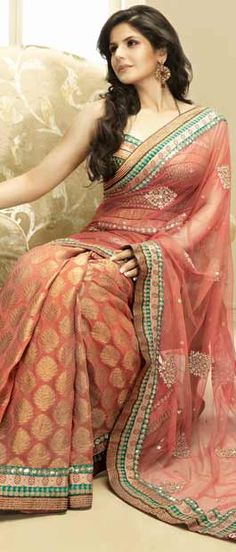 Salmon Pink Viscose #Saree with Blouse