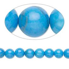 Bead, howlite (dyed), turquoise blue, 6mm round, B grade, Mohs hardness 3 to 3-1/2. Sold per 16-inch strand.