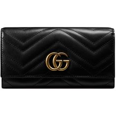 Gucci Gg Marmont Continental Wallet (€655) ❤ liked on Polyvore featuring bags, wallets, accessories, black, wallets & small accessories, women, gucci, snap wallet, leather wallets and 100 leather wallet