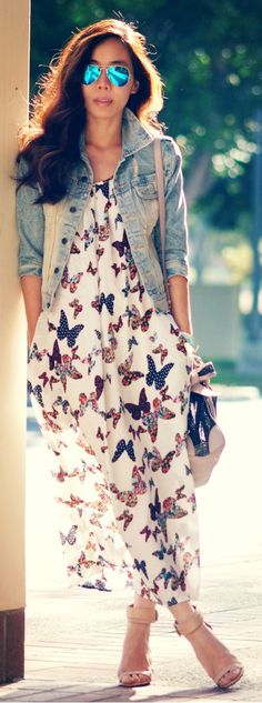 Summer Dress: Butterfly print, awesome Ray-bans with a Jean jacket.....sooooo cute!