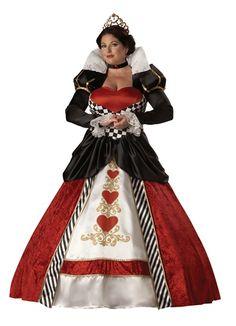 Plus Size Elite Queen of Hearts Red,Black Women Fancy Dress Adult Costume