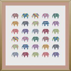Elephant cross stitch pattern PDF by KnitSewMake on Etsy