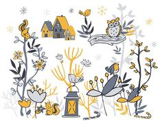 Winter Woodland Clip art kit clipart greetings holiday