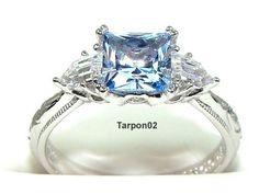 Tacori Diamonique Epiphany 3 25ct Blue Princess QVC Ring 8 New | eBay
