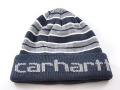 bbd2402475e Carhartt Cuff Fold Navy Blue Gray Stripes Winter Beanie Hat Men s Women s  OS -