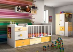 crib/changers to desk/ single Fernando Lopez, Space Projects, Cot Bedding, Crib, Baby Bedroom, Baby Decor, Baby Design, Small Spaces, Toddler Bed