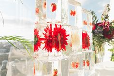 New York Wedding, Flowers and Fruit in Ice Sculpture