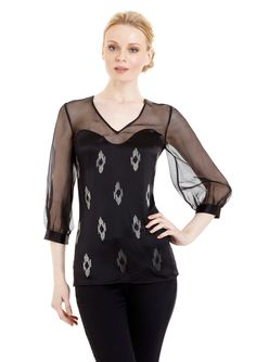 Illusion sweetheart neckline top