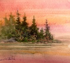 Sunset at the Lake. Watercolour painting by Ken Crawford