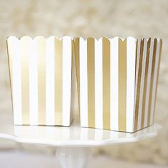 Need a beautiful and whimsical box to put your favors in? Use these perfect gold and white stripe popcorn boxes for your special event! Great for baby showers ( Ready to Pop!), vintage circus themed p
