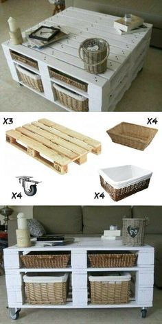 DIY idea for a trendy and cheap coffee table in pallets ... #cheap #coffee #palletideas #pallets #table #trendy